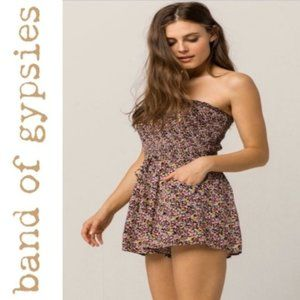 3/$25 Band of Gypsies strapless floral romper